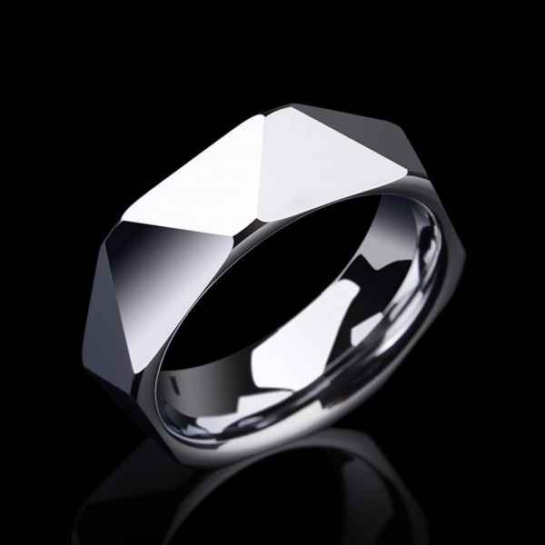 Tungsten Men's Silvery Ring Geometric Cutting Simple Vogue and Luxury Style Polish Craft