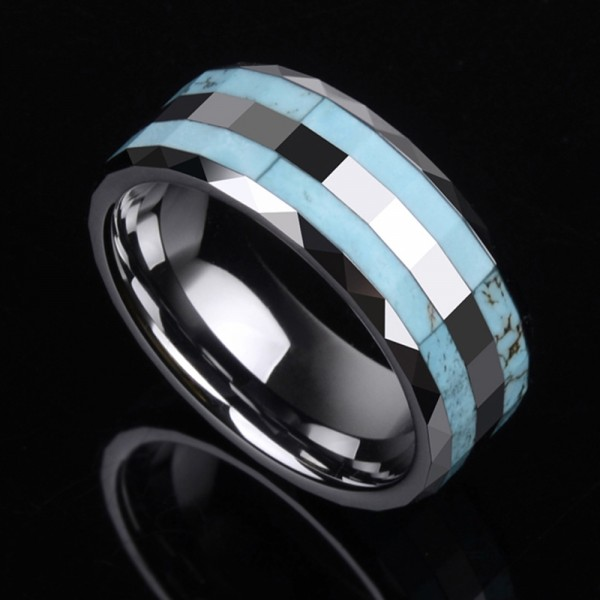 Tungsten Men's Ring Inlaid Calaite Fashion and Unique Geometric Cutting Side