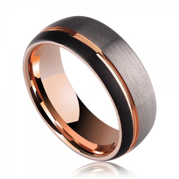 Tungsten Men's Ring Vogue and Magnificent Style Combination of Black Silvery and Rose Gold Brushed Craft