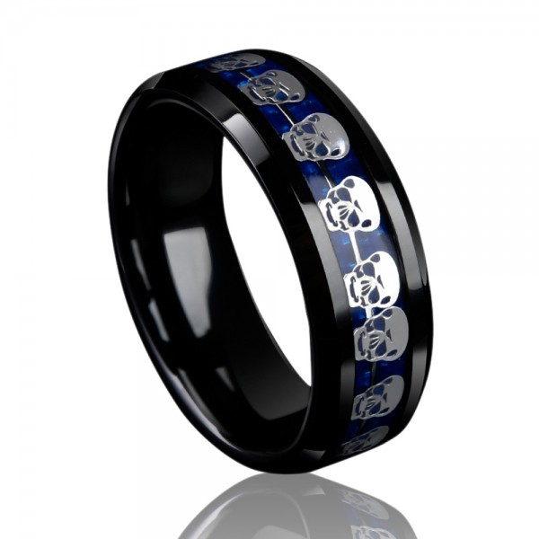 Tungsten Men's Ring Inlaid Carbon Fibre Skull Desing Punk Spirits Cool and Classic Style