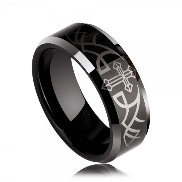 Tungsten Men's Black Ring Angel's Wing Pattern Simple and Vogue Style Polish Craft