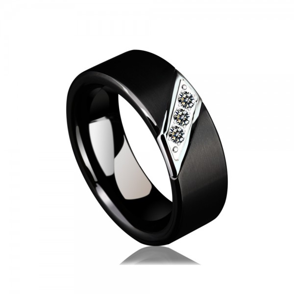 Tungsten Men's Black Ring Inlaid Cubic Zirconia Vogue and Magnificent Style Dull Polish Craft For Business