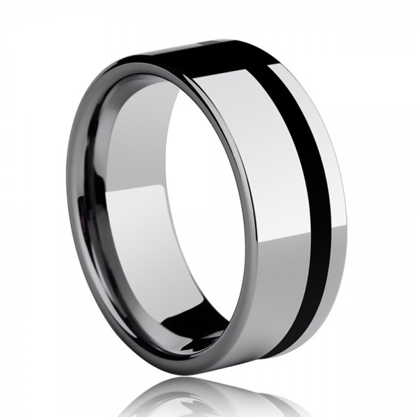 Tungsten Men'sRing in Wide Version Accessorized Black Stripe Simple and Vogue Style Polish Craft