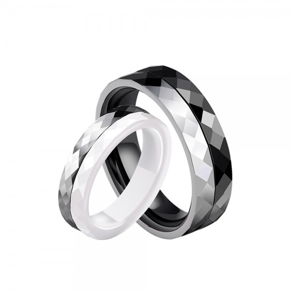 Tungsten and Ceramic Couple Black and White Rings Simple and Fashion Style