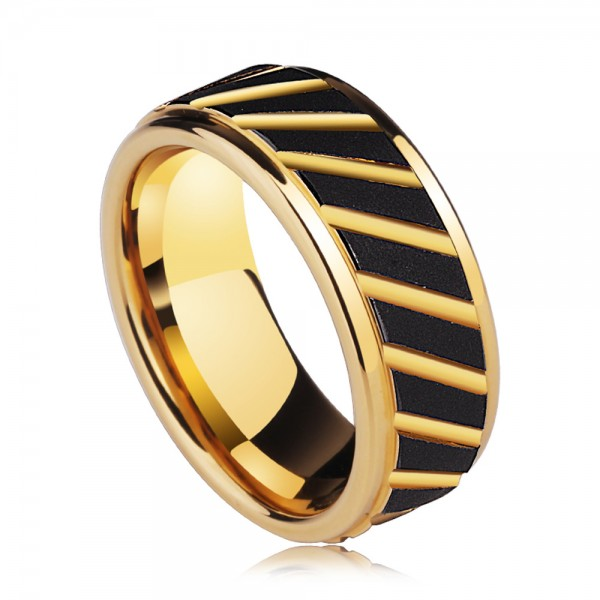 Tungsten Men's Golden Ring Growth Ring Design Idea Magnificent Vogue Style