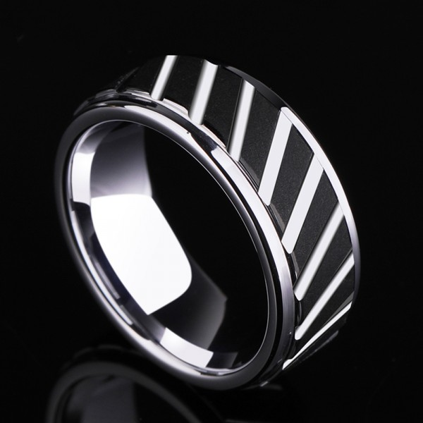 Tungsten Men's Silvery Ring Growth Ring Design Idea Magnificent Vogue Style