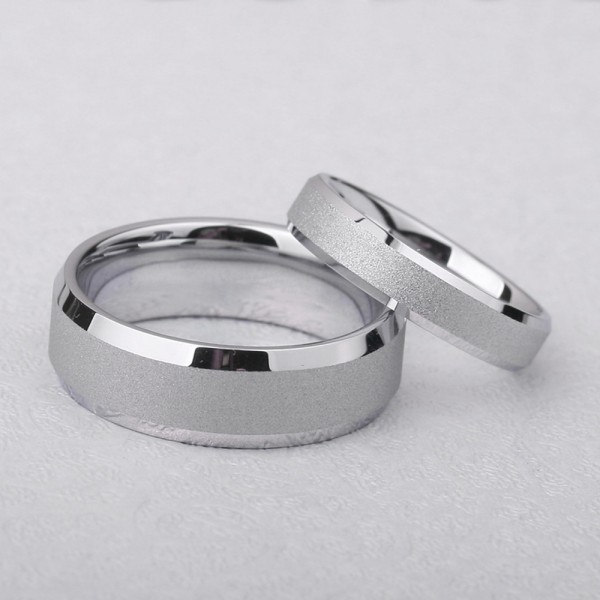 Tungsten Couple Silvery Rings Simple and Fashion Style Polish and Dull Polish Craft