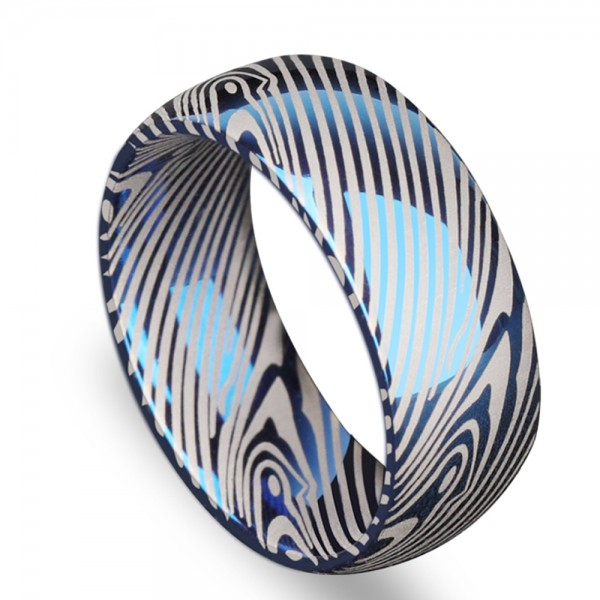Tungsten Men's Ring Zebra Stripes Eletro-plating Blue Mature and Stable Style