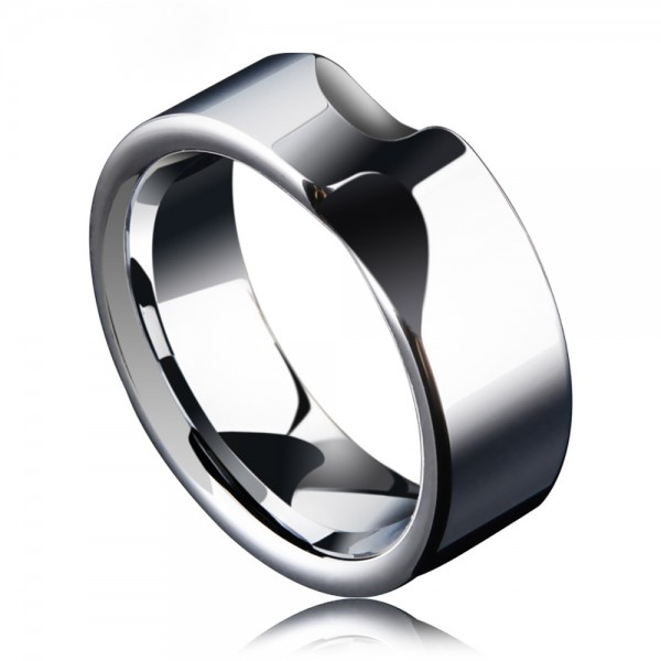 Tungsten Men's Silvery Ring Indentation Design Unique and Vogue Style Polish Craft