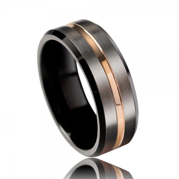 Tungsten Men's Ring Electroplating Rose Gold Vogue and Magnificent Style Fluted Craft