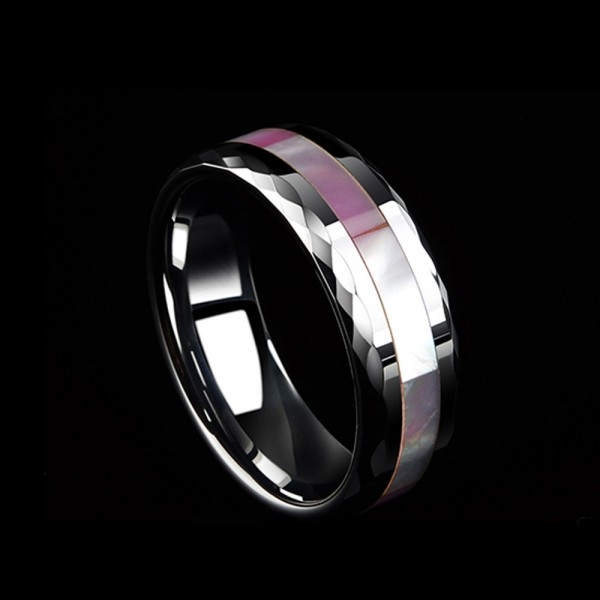 Tungsten Men's Silvery Ring Inlaid Pink Scallop Colorful Visual-effect Polish Craft Cutting Side Shell Design