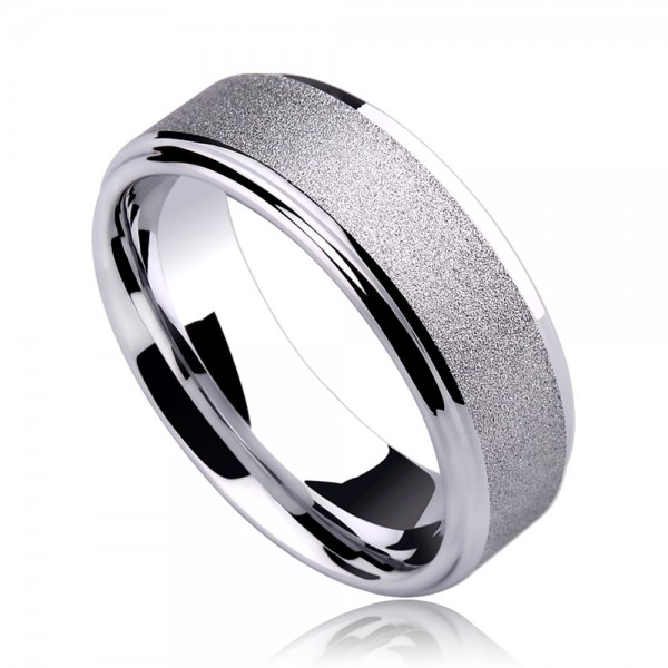 Tungsten Men's Silvery Ring Simple and Vogue Style Dull Polish Craft