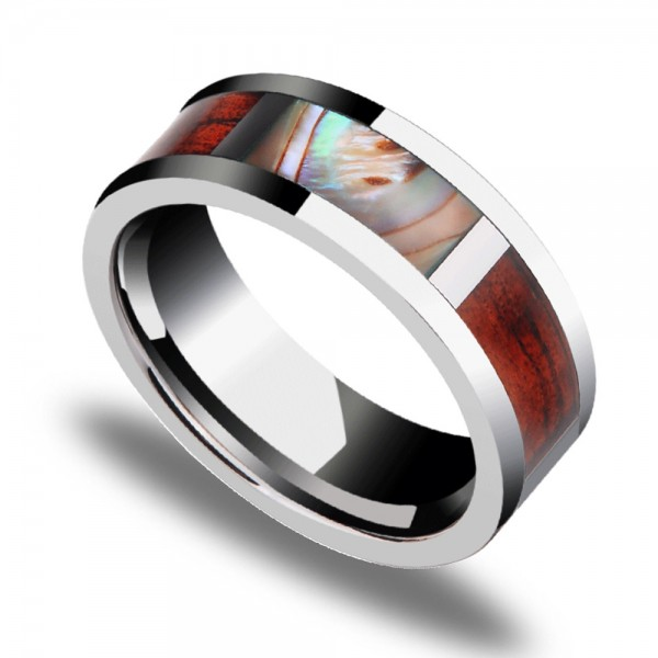 Tungsten Men's Ring Inlaid Shell and Acacia Unnique and Noble Highlight Personality