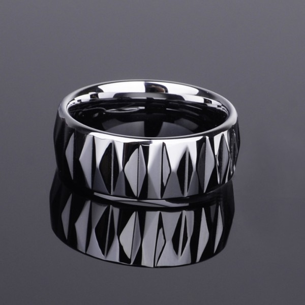 Tungsten Men's Silvery Ring Geometric Cutting Surface Shining Edgeplane Cool and Fashion Polish Inner Arc