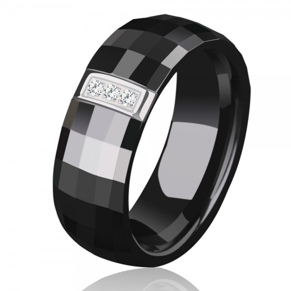 Men's Black Ceramic Ring Inlaid Cubic Zirconia Elegant and Vogue Style Cutting and Polish Craft