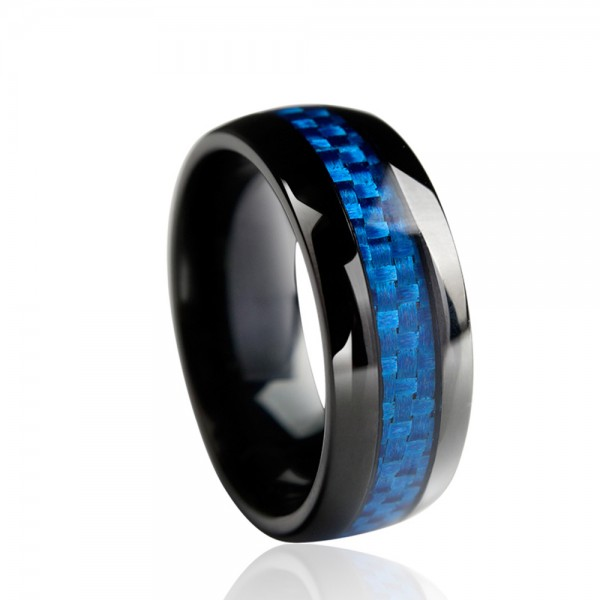 Tungsten Men's Saphire and Black Ring Inlaid Cardon Fibre Royal and Retro Style Polish Craft