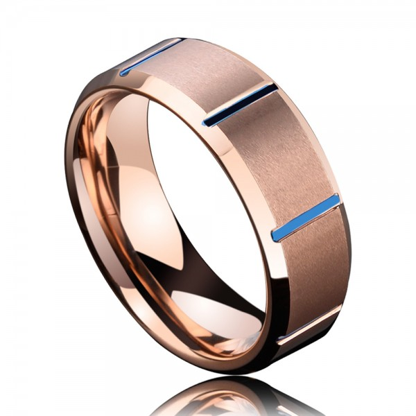 Tungsten Men's Rose Gold and Saphire Ring Vogue and Cool Style Electroplating and Fluted Craft