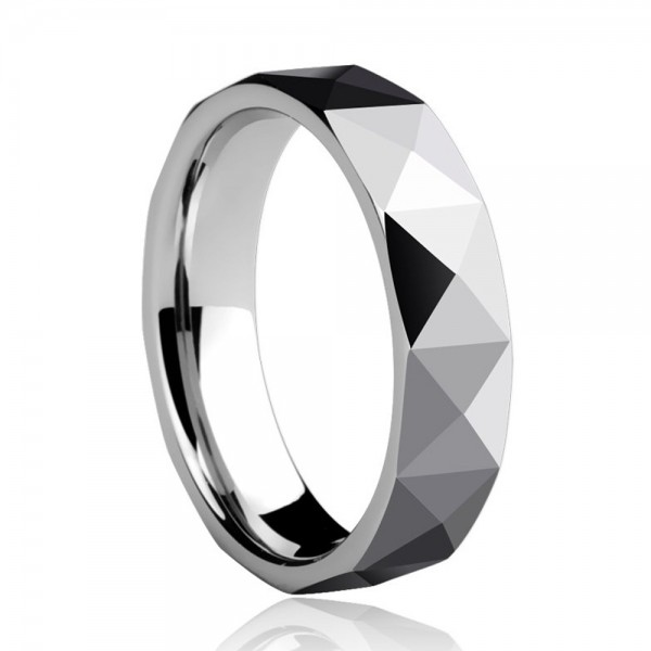 Tungsten Men's Silvery Ring Glossy Cutting Surface Simple and Fashion Style Polish Craft