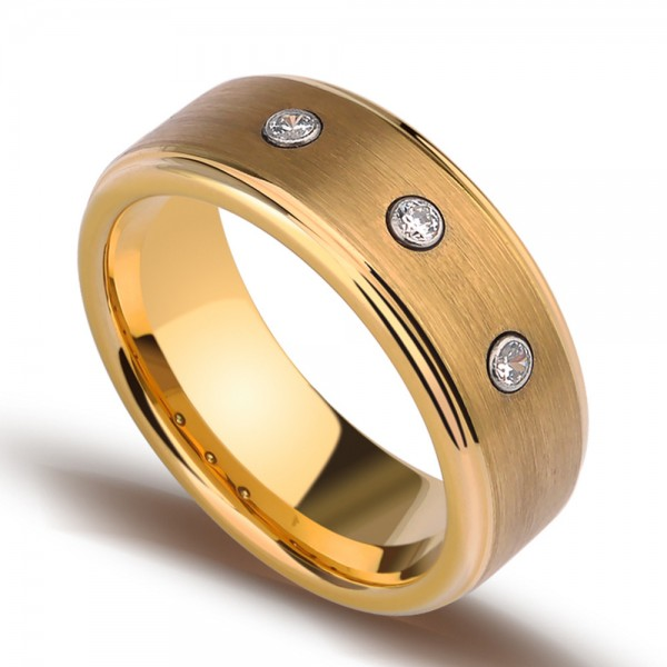 Tungsten Men's Golden Ring Inlaid High Quality Cubic Zirconia Luxury and Vogue Style Polish and Brushed Craft
