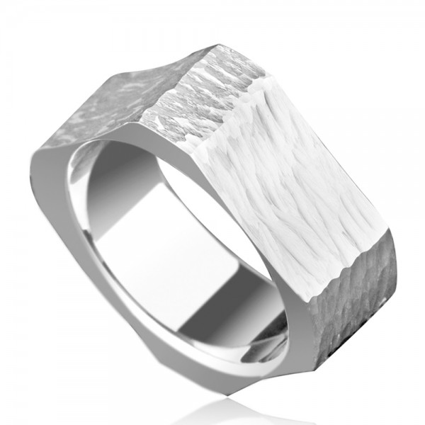Tungsten Men's Silvery Ring Square and Round Design Personality Cool and Fashion Hammer Texture Craft