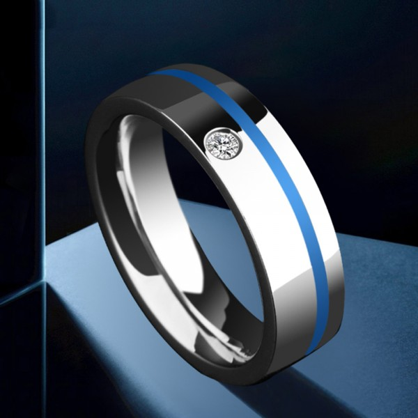 Tungsten Men's Silvery Ring Inlaid Cubic Zirconia Simple and Fashion Style Polish and Dripping Craft