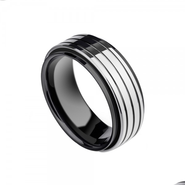 Tungsten Men's Black Ring Inlaid Ceramic Vogue and Liberality Style