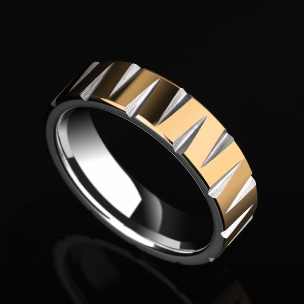 Tungsten Men's Golden Ring Vogue and Liberality Style Electroplating 18K Gold Polish and Fluted Craft