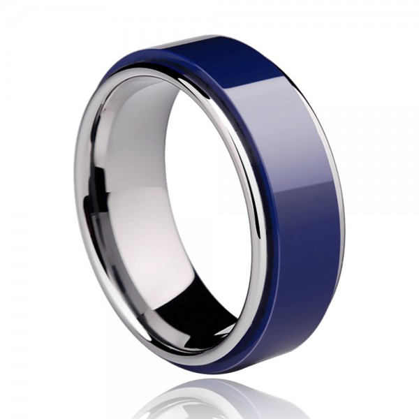 Tungsten Men's Dark Blue Ring Inlaid Ceramic Vogue and Unique Style Mirror Polish Craft