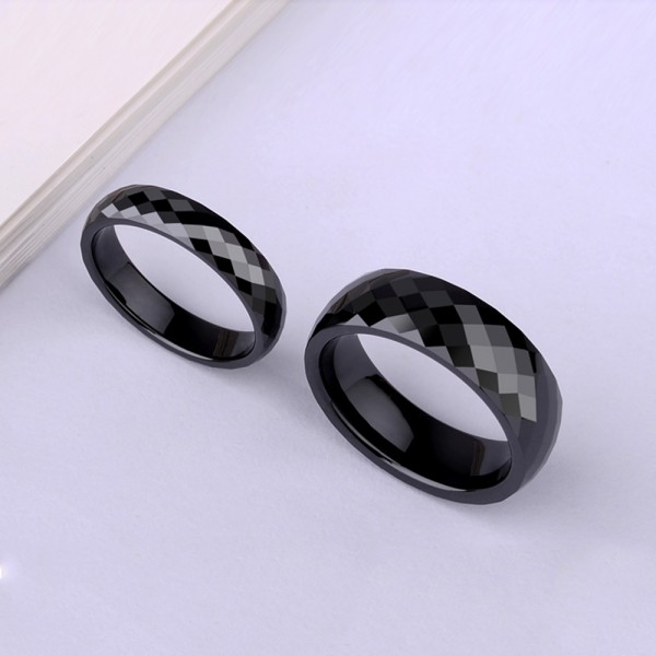 Ceramic Couple Black Rings Cutting Surface Design Polish and Inner Arc Craft