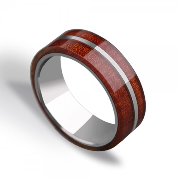 Tungsten Men's Ring Accessorized Acacia Elegant and Quaint Style Dripping Craft