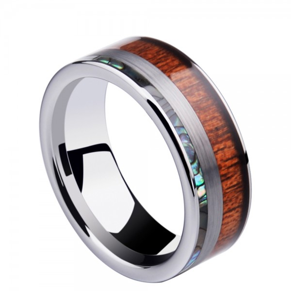 Tungsten Men's Ring Inlaid Acacia and Shell Elegant and Fashion Style Polish and Inner Arc Design