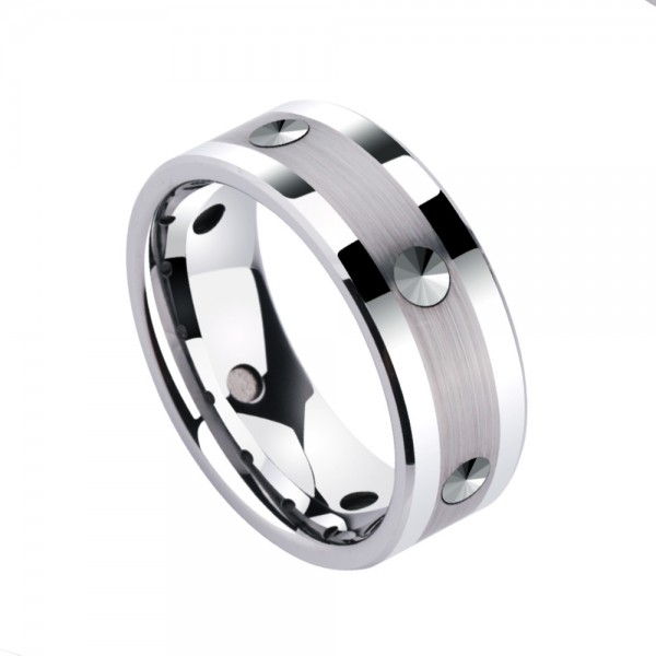 Tungsten Men's Silvery Ring Vogue and Liberality Style
