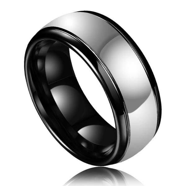 Tungsten Men's Black and Silvery Ring Simple and Liberality Style Polish Craft