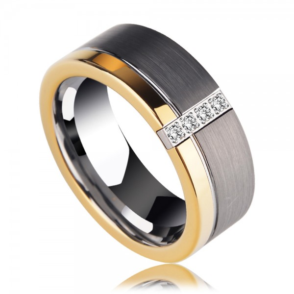 Tungsten Men's Golden and Silvery Ring Inlaid Cubic Zirconia Vogue and Liberality Style Polish and Sanding Craft