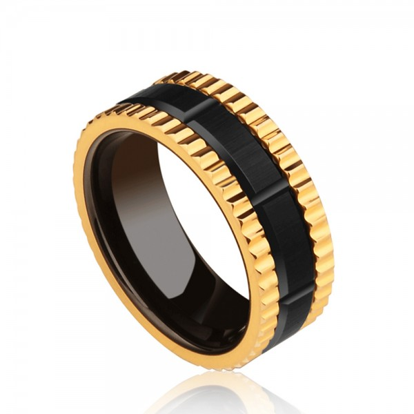 Tungsten Men's Black and Golden Ring Wheel Design Fashion and Highlight Personality Electroplating Craft