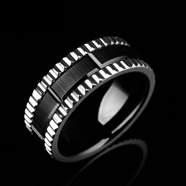 Tungsten Men's Black and Silvery Ring Wheel Design Fashion and Highlight Personality Electroplating Craft