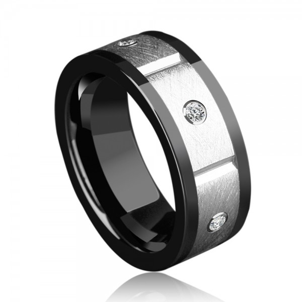 Tungsten Men's Silvery Ring Inlaid Cubic Zirconia Fashion and Liberality Style Sanding and Fluted Craft
