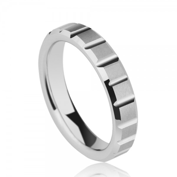 Tungsten Men's Silvery Ring Squared Pattern Design Simple and Fashion Style Dull Polish Craft