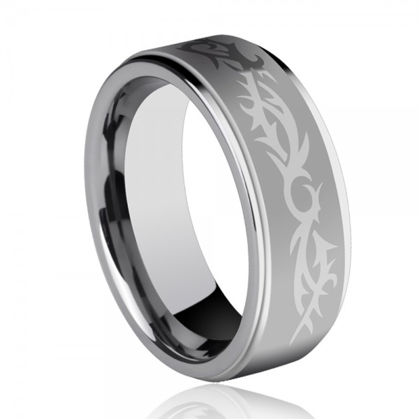 Tungsten Men's Silvery Ring Arabesquitic Design Retro and Vogue Style Dull Polish Craft