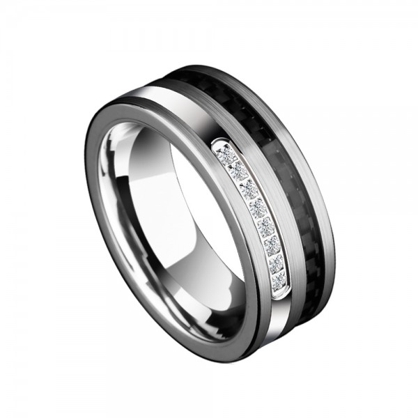 Tungsten Men's Silvery Ring Inlaid Carbon Fibre and Cubic Zirconia Luxury and Fashion Style Polish Craft
