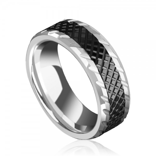 Tungsten Men's Black Ring Vogue and Fortitude Style Geometric Cutting Surface Fluted Craft