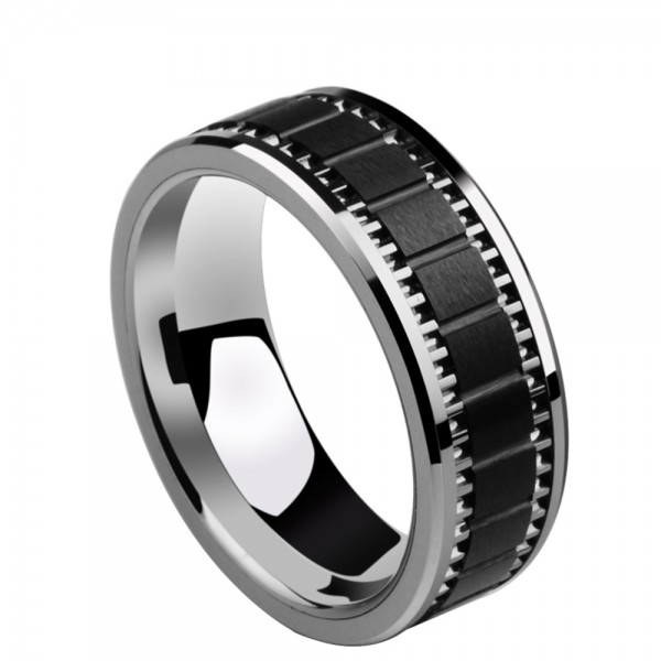 Tungsten Men's Black Ring Inlaid Ceramic Squared Design Vogue and Masculine Style Dull Polish Craft
