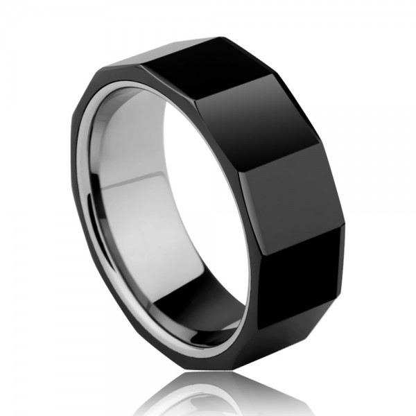 Tungsten Men's Black Ring Inlaid Ceramic Simple and Deep Style Polish and Inner Arc Design