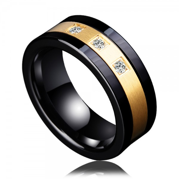 Tungsten Men's Black Ring Inlaid Ceramic and Cubic Zirconia Eletroplating 18K Gold Luxury and Deep Style Polish and Inner Arc Design