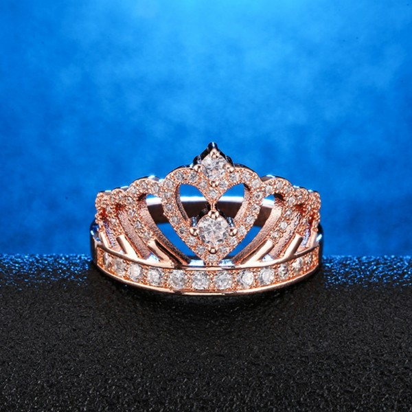 925 Sterling Silver Ring For Women Inlaid Cubic Zirconia Crown Design Plating 18K Platinum Noble and Liberality Optional Rose Gold