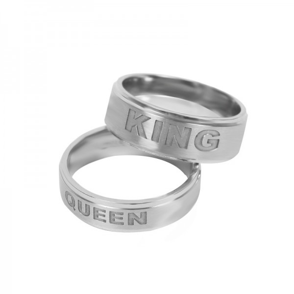 King And Queen Ring Stainless Steel His And Hers Promise Ring
