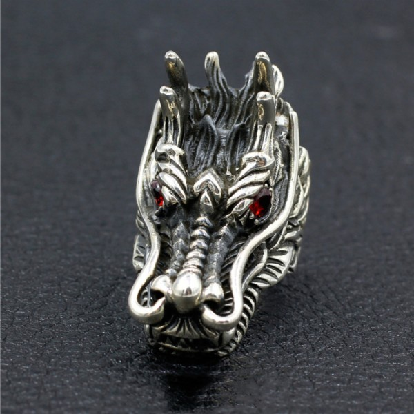 Chinese Dragon Ring 925 Sterling Silver Handmade Personality Classic Men's Ring