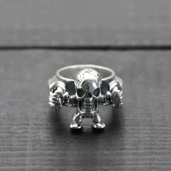 S925 sterling silver punk ring vintage worn old skull men's ring