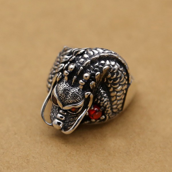 S925 sterling silver retro dragon ring personality men's silver ring