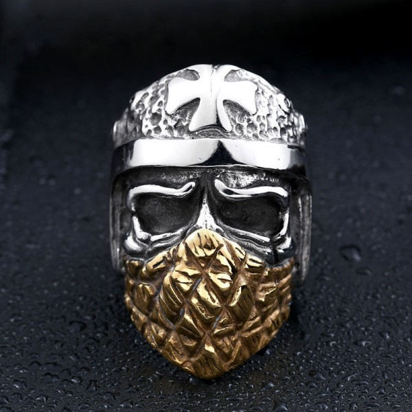 Men's Titanium Steel Masked Cross Skull Ring